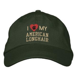 I Liebe (Herz) mein amerikanisches langhaariges Bestickte Kappe