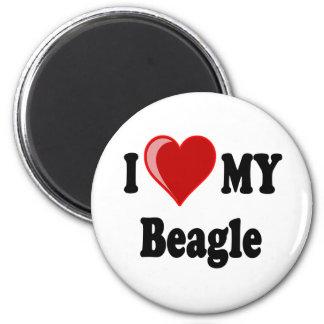 I Liebe (Herz) mein Beagle-Hund Runder Magnet 5,7 Cm