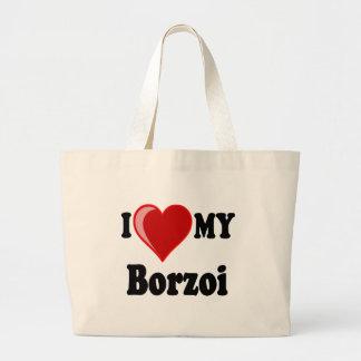 I Liebe (Herz) mein Borzoi-Hund Jumbo Stoffbeutel