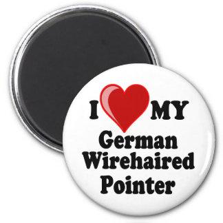I Liebe (Herz) mein deutscher Drahthaar-Zeiger-Hun Runder Magnet 5,7 Cm
