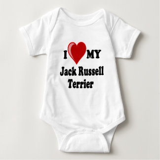 I Liebe (Herz) mein Jack-Russell-Terrier-Hund Baby Strampler