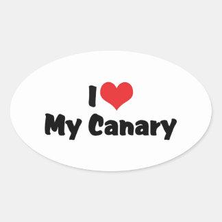 I Liebe-Herz mein Kanarienvogel - Vogel-Liebhaber Ovaler Aufkleber
