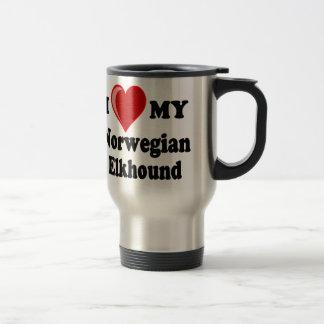 I Liebe (Herz) mein norwegischer Elkhound Hund Reisebecher
