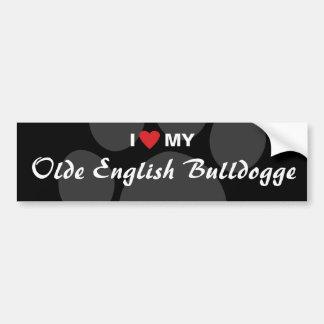 I Liebe (Herz) mein Olde Englisch Bulldogge Autoaufkleber