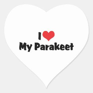 I Liebe-Herz mein Parakeet - Papageien-Liebhaber Herz-Aufkleber