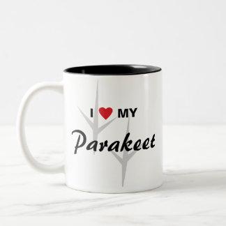 I Liebe (Herz) mein Parakeet-Vogel-Bahn-Entwurf Zweifarbige Tasse