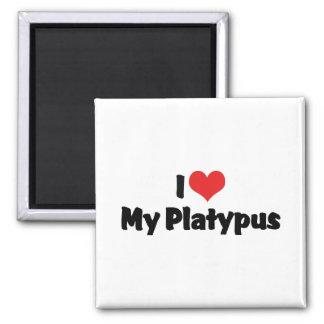 I Liebe-Herz mein Platypus Quadratischer Magnet