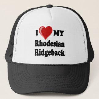 I Liebe (Herz) mein Rhodesian Ridgeback Hund Truckerkappe