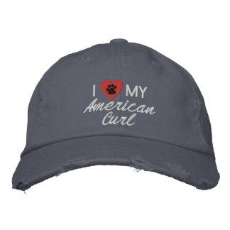 I Liebe Herz meine amerikanische Locke Besticktes Baseballcap