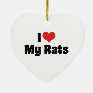 I Liebe-Herz meine Ratten - Keramik Ornament