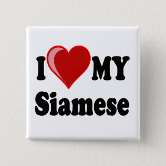 I Liebe (Herz) meine siamesische Katze Quadratischer Button 5,1 Cm