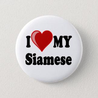 I Liebe (Herz) meine siamesische Katze Runder Button 5,1 Cm