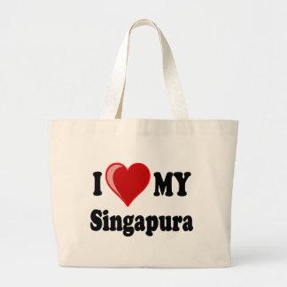 I Liebe (Herz) meine Singapura Katze Jumbo Stoffbeutel