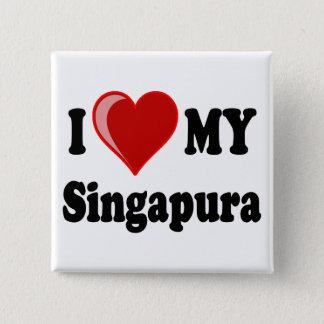 I Liebe (Herz) meine Singapura Katze Quadratischer Button 5,1 Cm