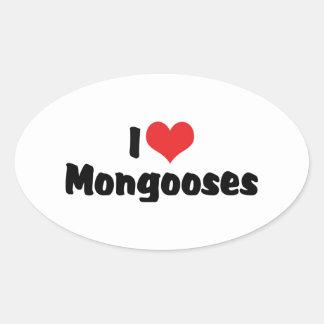 I Liebe-Herz-Mungos - Mungo-Liebhaber Ovaler Aufkleber