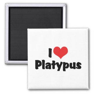 I Liebe-Herz Platypus Quadratischer Magnet