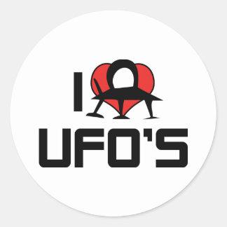 I Liebe-Herz UFO - alien-Liebhaber Roswell Runder Aufkleber