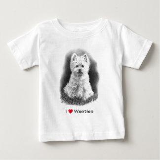 I Liebe (Herz) Westies: Bleistift-Zeichnen Baby T-shirt
