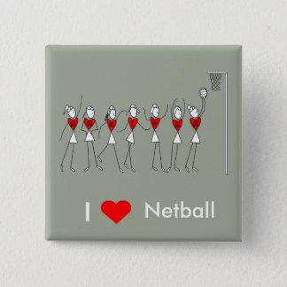 I Liebe-HerzNetball Quadratischer Button 5,1 Cm