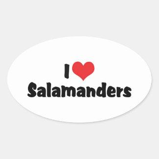 I Liebe-HerzSalamanders Ovaler Aufkleber