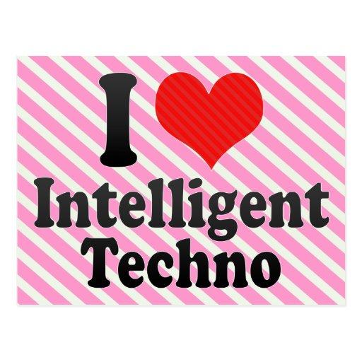 I Liebe intelligent+Techno Postkarte