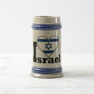 I Liebe Israel - mit großer Flagge von Bierglas