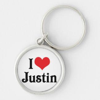 I Liebe Justin Schlüsselanhänger