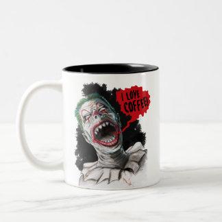 I Liebe-Kaffee-verrückter lachender Zombie-Clown Zweifarbige Tasse