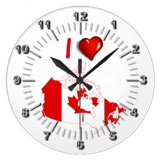 I Liebe Kanada Große Wanduhr