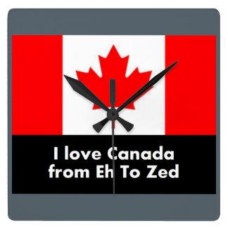 I Liebe Kanada von wie zum Zed Quadratische Wanduhr