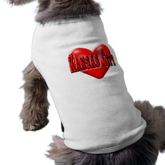I Liebe Kansas City Ärmelfreies Hunde-Shirt