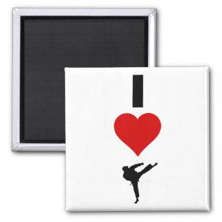 I Liebe-Karate (vertikal) Quadratischer Magnet
