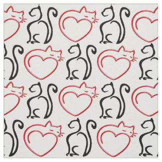 I Liebe-Katzen! (Schwarze und rote Konturen auf Stoff