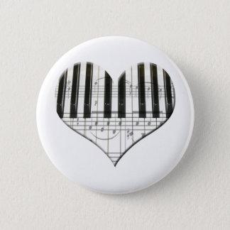 I Liebe-Klavier oder Organ-Musik-Herz-Tastatur Runder Button 5,1 Cm