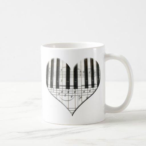 I Liebe-Klavier oder Organ-Musik-Herz-Tastatur Teetasse
