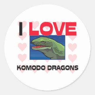 I Liebe Komodo Drachen Runder Aufkleber