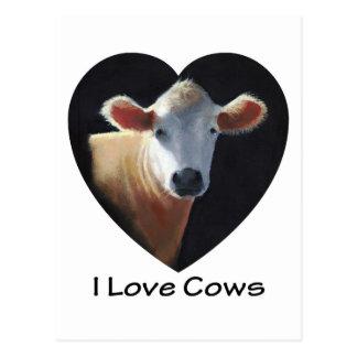 I Liebe-Kühe: Brown-Kuh im Öl-Pastell Postkarte