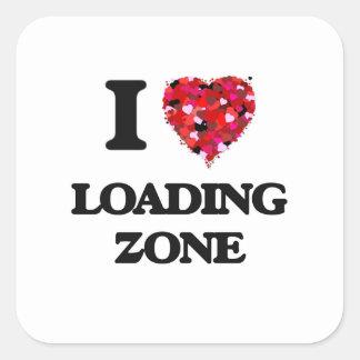 I Liebe-Laden-Zone Quadratischer Aufkleber