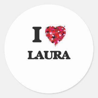 I Liebe Laura Runder Aufkleber