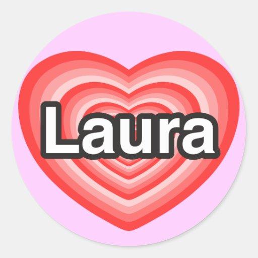 I Liebe Laura. Liebe I Sie Laura. Herz Sticker