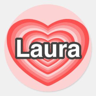 I Liebe Laura. Liebe I Sie Laura. Herz Runder Aufkleber
