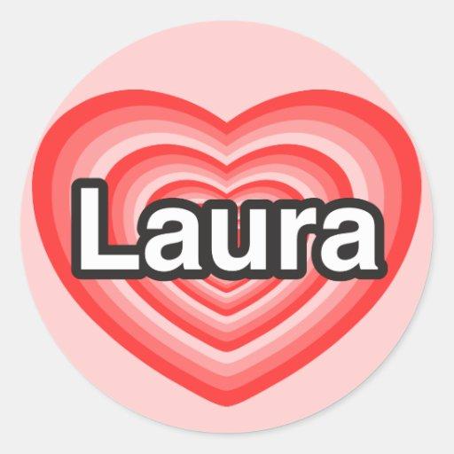 I Liebe Laura. Liebe I Sie Laura. Herz Runde Sticker