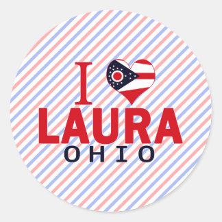 I Liebe Laura Ohio Runder Sticker
