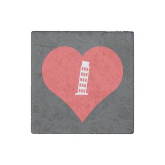 I Liebe-lehnender Turm von Pisa-Ikone Stein-Magnet