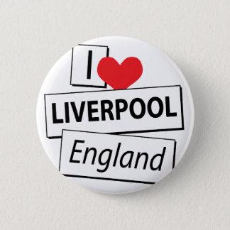 I Liebe Liverpool England Runder Button 5,7 Cm