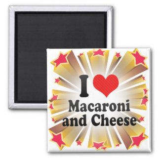 I Liebe-Makkaroni+und Käse Quadratischer Magnet
