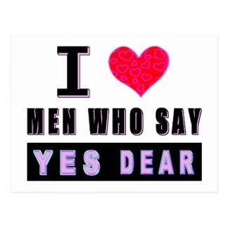"""I Liebe-Männer, die sagen """"JA LIEBES """" Postkarte"""