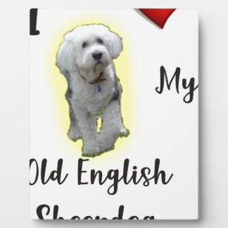 I Liebe mein alter englischer Schäferhund Fotoplatte
