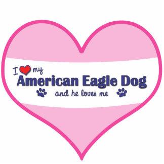 I Liebe mein amerikanischer Adler-Hund (männlicher Fotoskulptur Ornament