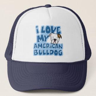 I Liebe mein amerikanischer Bulldoggen-Hut Truckerkappe